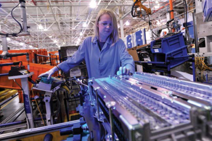 Both human and robotic workers assemble automobiles at Ford Motor Company plants across the United States.