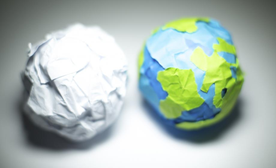 Paper ball and paper ball Earth