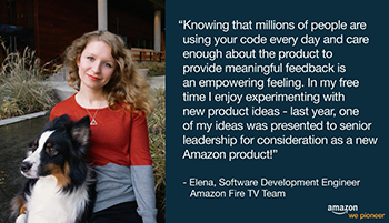 Elena Zhizhimontova '14 is featured in an Amazon recruitment ad.