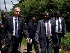 U.S. Ambassador Robert Godec and Vice Chancellor Francis Lelo at last year's launch of Laikipia University's Human Rights Centre.