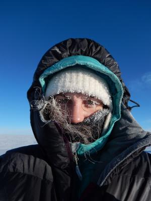 Ashley York wrapped in winter gear