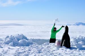 York takes snowpit samples in Greenland.
