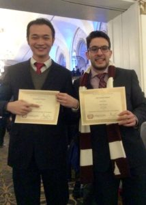 Pingzhen Hu '16 (left) and Doga Bilgin '16 were both awarded Outstanding Delegate in the Science and Technology Committee