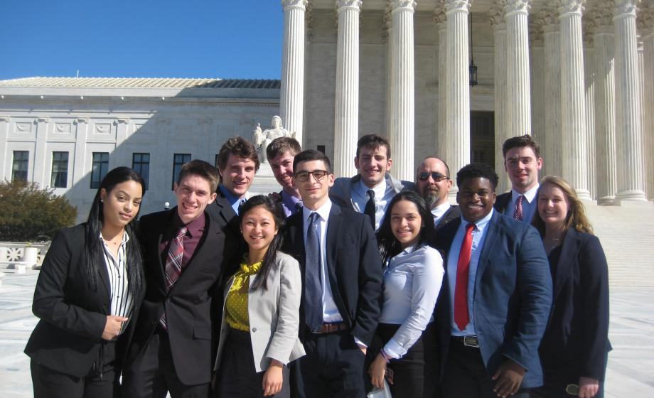 Clark University students in front of the Supreme Court