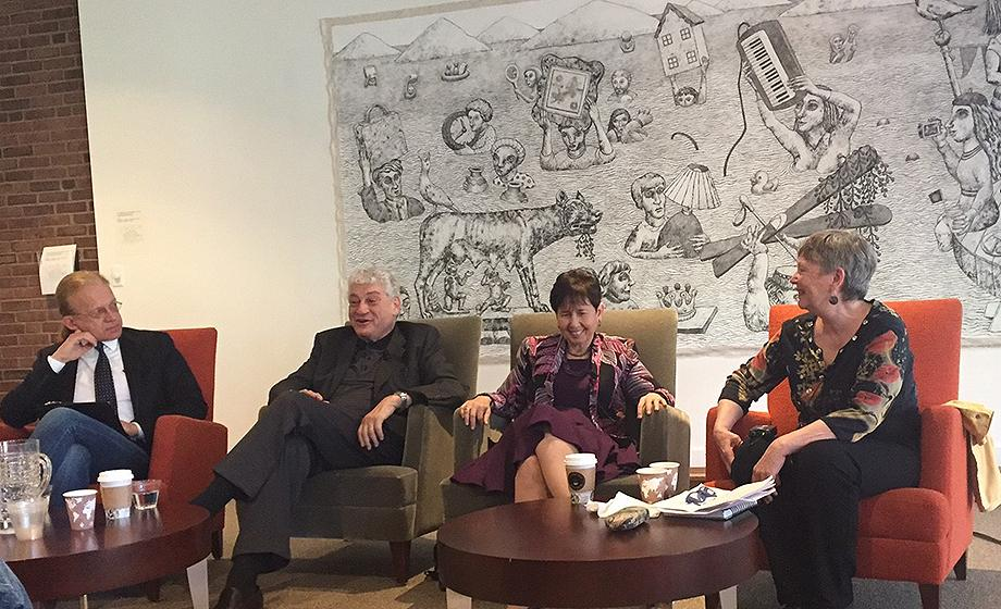 """Thomas Kühne,David Pijawka, Judy Dworkin and Jody Emel, seated in chairs, talk about issues in """"Indian country."""""""