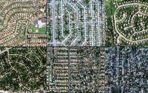 Aerial views of San Diego; Miami; Philadelphia; Chicago; Phoenix; and Levittown, N.Y. (N. Giner, Clark University)