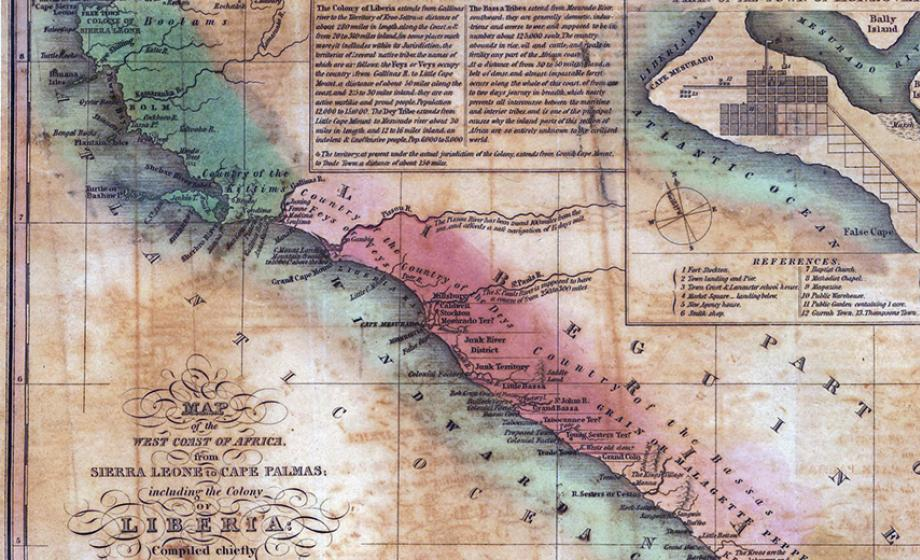 19th-century map of the colony of Liberia