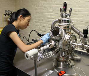 Ling Fu working in a lab
