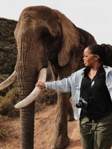 Marissa Callender petting elephant's tusk