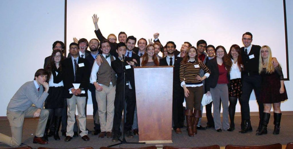 The Clark University Model UN team, fall 2015. Team adviser and political science Professor Srinivasan Sitaraman is third from left, front row.