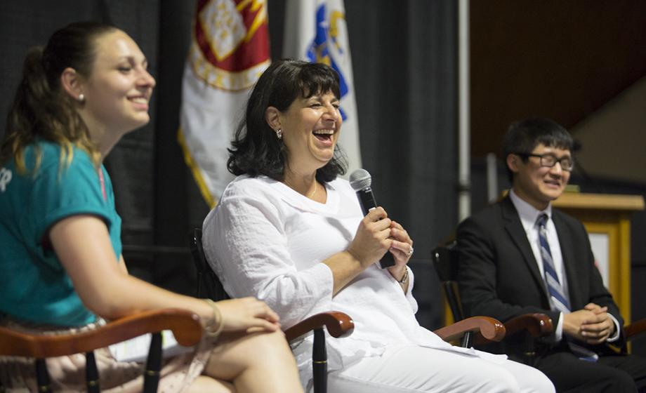 Cynthia Michael-Wolpert '90 sits on a panel discussion with her daughter, Natalie '18, and Undergraduate Student Council President Cory Bisbee '19