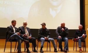 "From left, David Carlson, Rik Carlson, Jerry Lembcke, Soren Sorensen and John Wilson discuss the documentary ""My Father's Vietnam"" during a recent presentation."