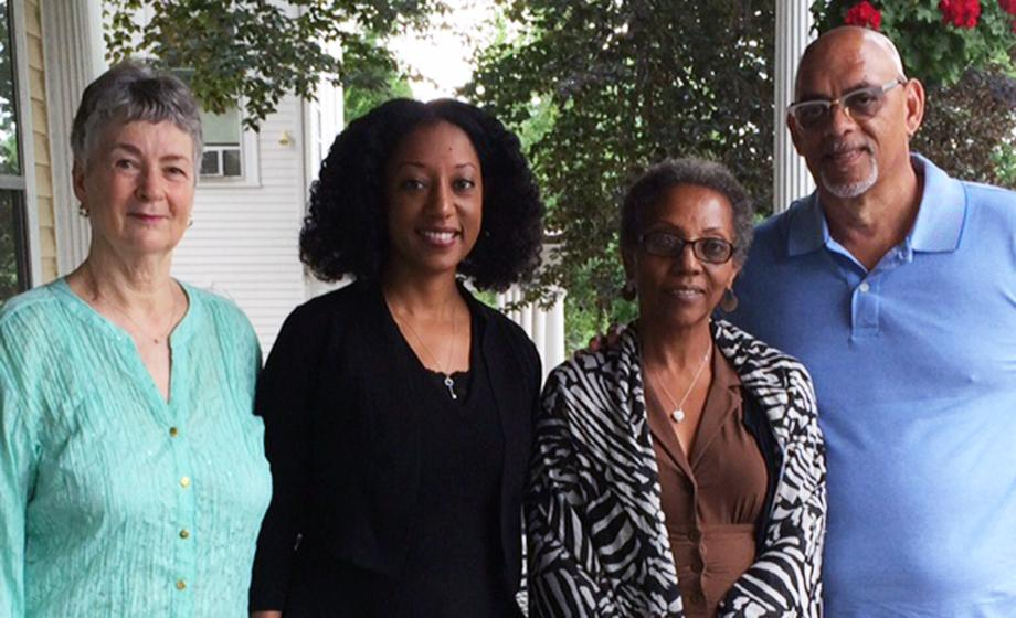 Professor Virginia Mason Vaughan, Professor Esther Jones, Octavia and Norman Napier met at the English House at Clark University