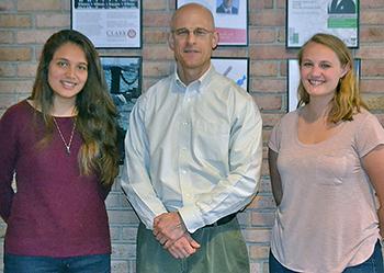 Robert Johnston with Isabel Miranda, left, and Becca Hadik