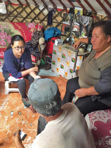 Odgerel Chintulga interviews families in Mongolia.