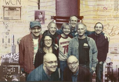 Attending the WCUW 40th reunion: (front) John McAvoy '78 and Neil Glassman '75; (middle) Carol Marie Kowalski '81 and Ivan Lipton '78; (back) Peter Sohn '77, Stanley Sakellson '78, Leland Stein '78, Walter Henritze '74 and David Goldberg '78.