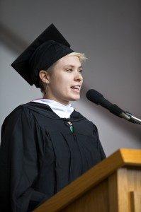 Emma Pierson presented the annual Senior Address