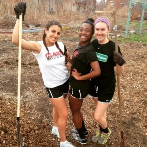 Athletes from the Clark's women's soccer and field hockey teams volunteered with the Regional Environmental Council. Pictured, from left to right, are Haley Connors '17, Caitland Baxter '18 and Megan Tighe '17.