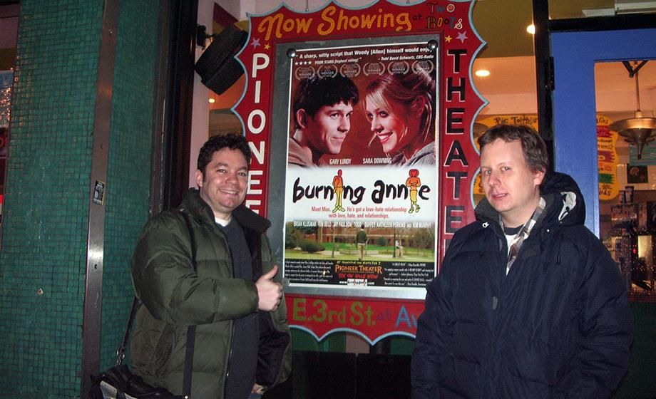 "Randolph and Zack standing next to ""Burning Annie"""