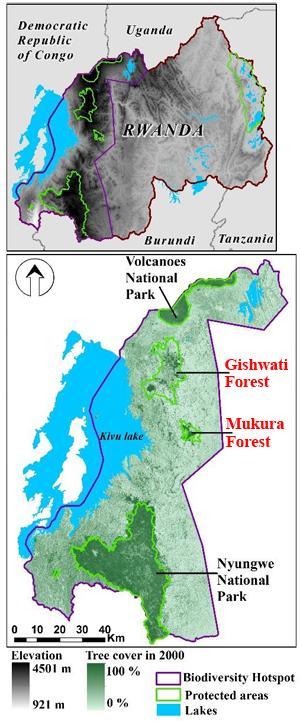 Location of Arakwiye's study areas in western Rwanda