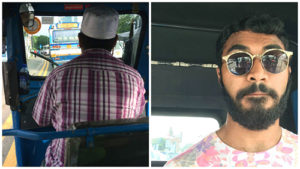 Themal Ellawala travels in a Sri Lankan tuk tuk.