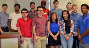 Students who made five-minute elevator pitches included, front, from left: Michael Gaiewski, Jiri Roznovjak, Tran Tran, Siu Ting Lam and Amiel Jaggernauth; back, from left: Jordan Majka, Navid Al Hossain, Yoni Hazan, Precious Oyem, David Berry, Siqi (Gillian) Yuan and Justin Wilbur.