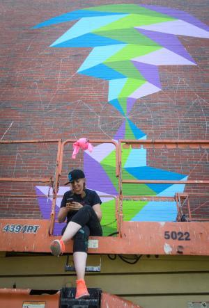 Kristin Farr is creating a mural