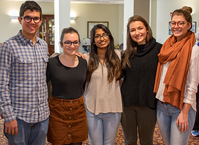 From left, Clark students involved in the project at Briarwood Continuing Care Retirement Community included Jeremy Maltz '20, Alli Jutras '19, Joyce Joseph '19, Hanna Goldberg '19 and Alyssa Moreau '20.