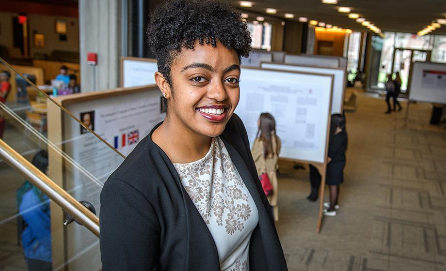 """""""My experience and success in any place depends on how fit that space is for me,"""" says Mary Teketel Yohannes '19. She found her fit at Clark University. A native of Addis Ababa, Ethiopia, Yohannes is pursuing a degree in biology, concentrating in mathematical biology and bioinformatics, with plans for a career in medicine. """"I have always been interested in a career in cardiology, particularly cardiovascular surgery,"""" she says. In her time at Clark, Yohannes has been a student, a teacher, and a researcher. She's also ventured outside New England, interning at the University of Florida following her sophomore year (""""I needed to defrost from Worcester's snow,"""" she cracks). There, as an assistant lab technician in the Entomology and Nematology Department, Yohannes learned basic research techniques that applied to root staining and greenhouse assays. The department's work ultimately assisted farmers with the proper application of pesticides on their fields while also reducing the cost of their pesticide purchases. Prior to her Florida internship, Yohannes found a new area of interest at Clark: mathematical biology and bioinformatics (MBB). """"I want to go to medical school and, though biology is usually the ideal major to have, I don't enjoy it as much as math and computer science. MBB interests me because it combines my career goal with my academic interest,"""" she says. In a directed study with Nathan Ahlgren, assistant professor of biology, this spring, Yohannes learned specialized R programming for statistical and graphical data, both critical pieces to her MBB studies. This summer, she's continuing to gain experience to bolster her chances of getting into medical school by working as a data entry clerk at University of Massachusetts Medical School's Department of Psychiatry. """"After graduating, I plan to work in bioinformatics for a year or two before applying to medical school,"""" she notes. But Yohannes has learned that her career is just a piece of a bigger picture. """"Lo"""