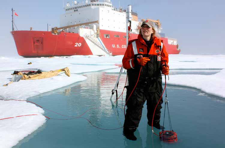 Prof. Karen Frey conducting sea ice research in the Chukchi Sea