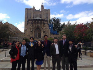 Participants in the Yale University Security Council Simulation include Mariale Poleo '15, Miguel A. Lara '15, Doga Bilgin '16, Dea Dodi '17, Shane D'Lima '14, Dyan Sansone '14, Jake Kailey '14, and Themal Ellawala '17.
