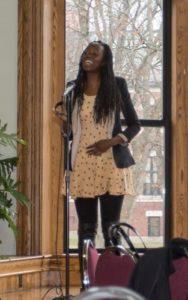 Lulama Moyo'16 performed a spoken word poem