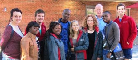 Students from the University of the Free State (South Africa) begin their first week at Clark, along with IDCE Interim Director David Bell (third from right).