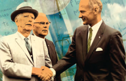 Above: Edwin Aldrin Sr. looks on as son Buzz Aldrin shakes hands with Charles Abbott, retired secretary of the Smithsonian Institution, at the 1969 dedication of the Goddard Library.