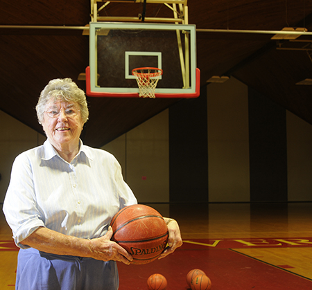 Barbara Andersen '46 photographed in the Kneller Athletic Center gym in 2010.