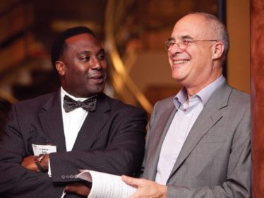 Bittman shares a laugh with Vice President of University Advancement C. AndrewMcGadney before speaking at the Jonas Clark Fellows Dinner last November.