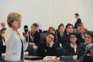 Clark University ES&P Professor Halina Brown makes a point during the World Resource Forum conference in Davos.