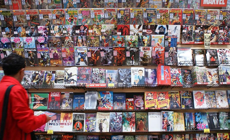 shelves full of comics