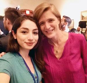 Dodi poses with Samantha Power, U.S. ambassador to the United Nations.