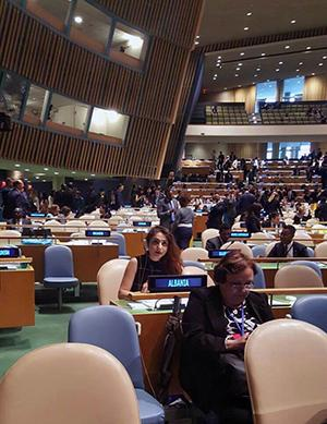 Dodi listens during a United Nations General Assembly vote.