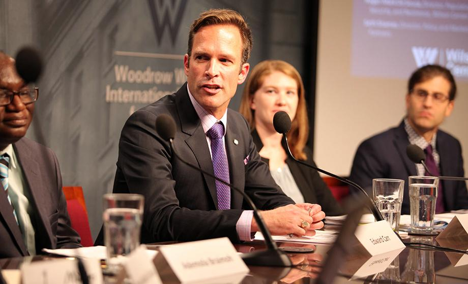 Edward Carr speaks at the Woodrow Wilson International Center for Scholars in Washington. At a separate event, he received the USDA's Abraham Lincoln Honor Award for Contributions to Global Food Security. (Photo courtesy of the Wilson Center)