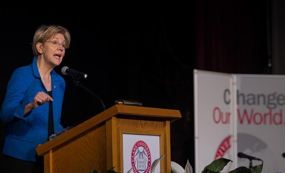 Elizabeth Warren giving a speech