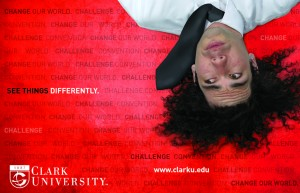 Clark's 2010-2011 recruitment poster features an upside-down Zachary Meager '12.