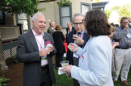 Jeffrey Lurie '73 greets fellow alumni at the Jonas Clark Fellows event during Reunion Weekend.