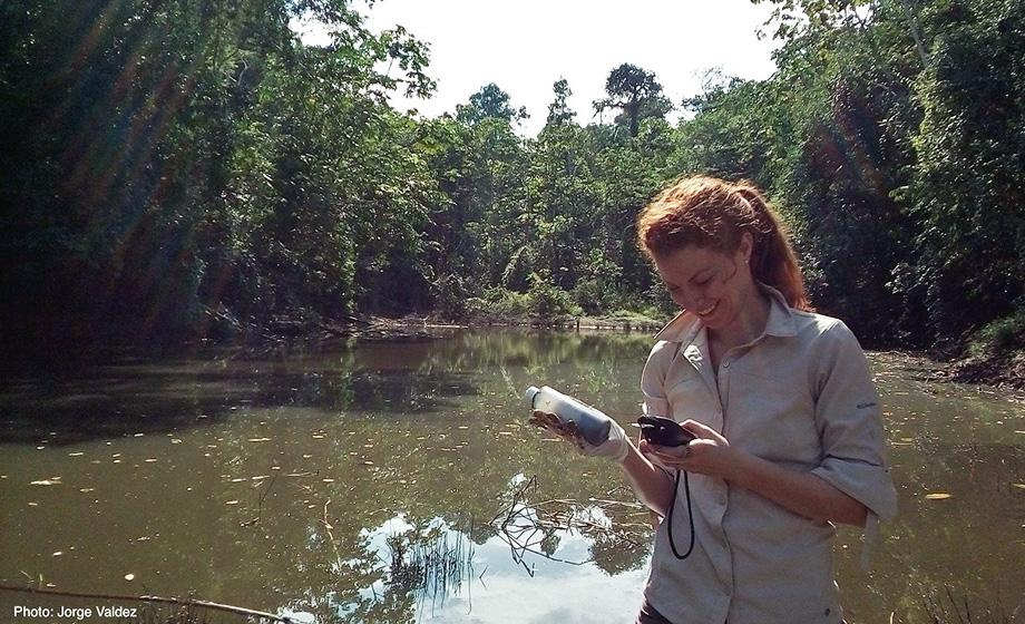 In Peru, Kate Markham collects soil samples that will be analyzed for mercury content.