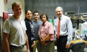 Simon, far right, meets the Machflow team, from left: employees Sergei Ivanov and Elham Ghaem-Maghami, intern Daniel Olecki, and Prof. Agosta.