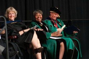Prof. Kristen Williams, faculty chair, Melinda Boone, Superintendent of Worcester Public Schools, and President David Angel at the installation.