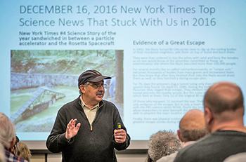 Richard Freund speaks at Clark in March.