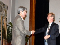 At the NESTVAL conference banquet, Anthony Bebbington, chair of the Clark University Graduate School of Geography, presented an award honoring excellence in teaching geography to Barry Stell, who teaches at South High School in Worcester.