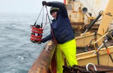 Karen Frey aboard the research vessel
